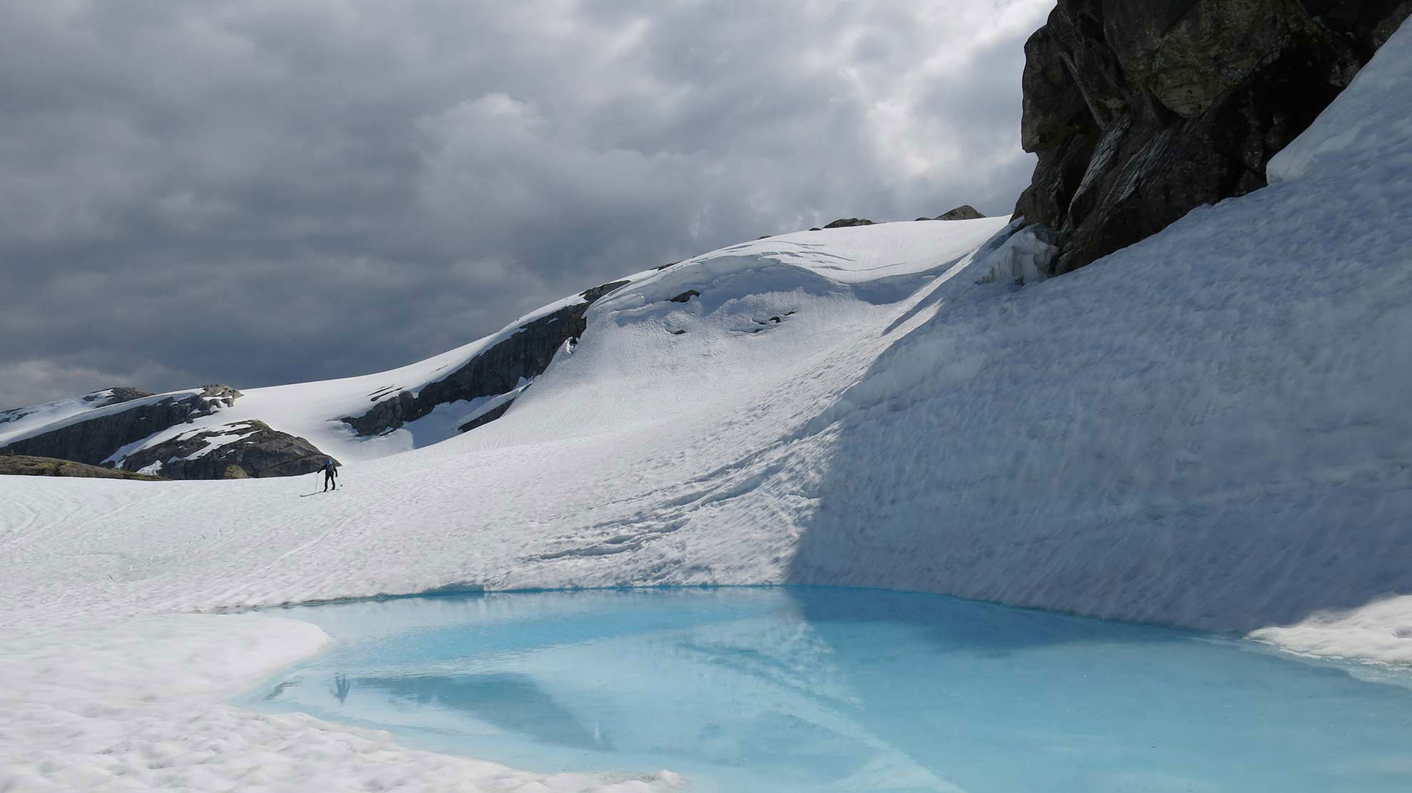 Glacier and water.